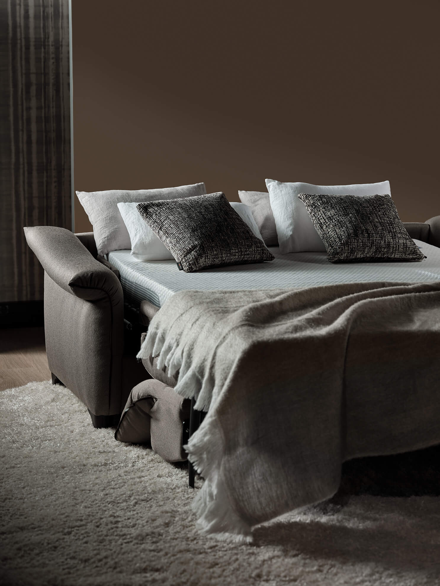 Canapé-lit Galaxio, tissu Unique Taupe, Living Rom (Canapé convertible)