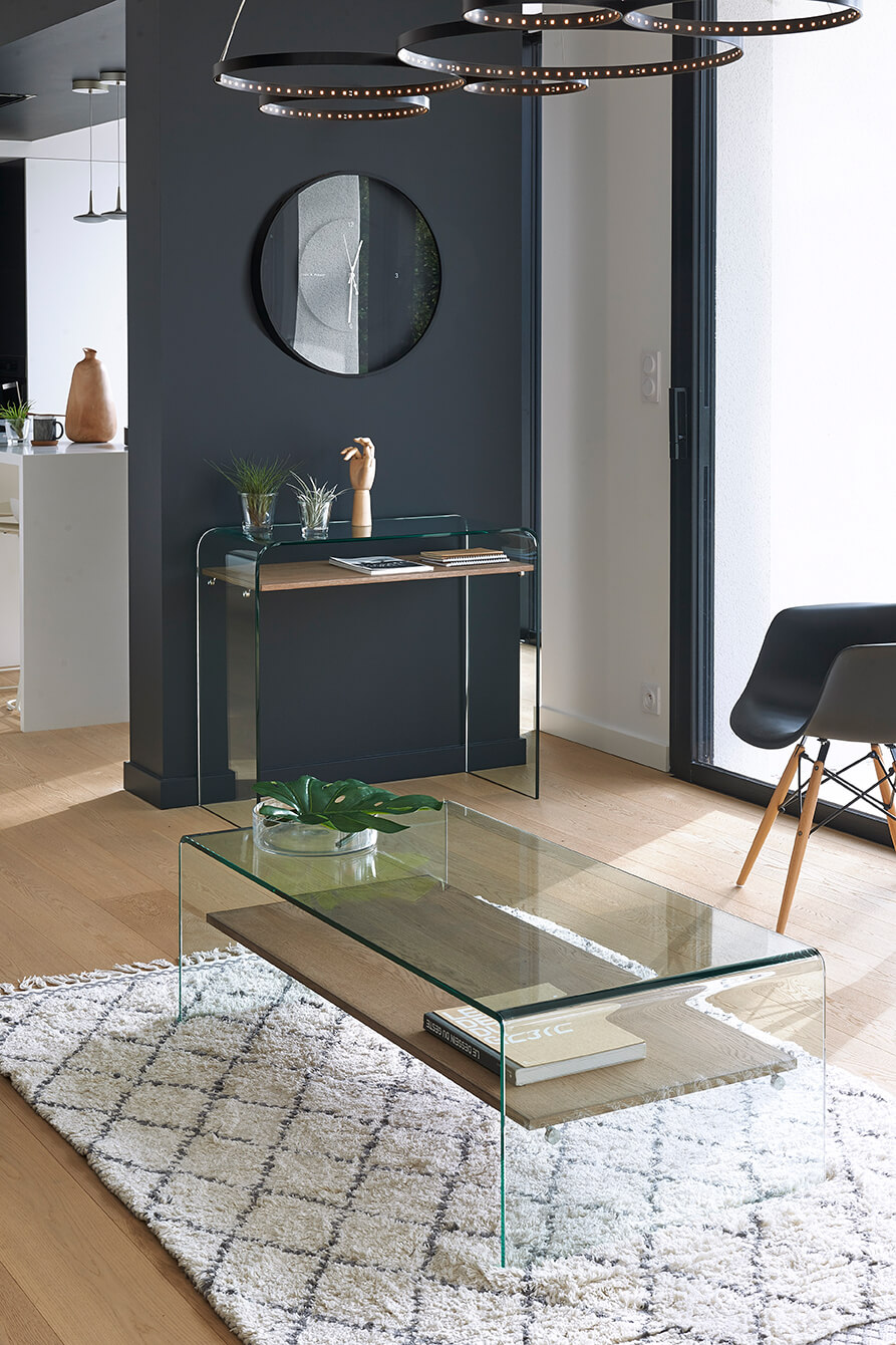 Table basse Manitoba, table en verre transparent, Living Rom